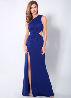 Sheath/Column One-Shoulder Sweep Train Jersey Bridesmaid Dress With Ruffle Split Front (0075119427)