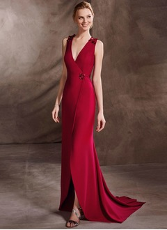 Trumpet/Mermaid V-neck Sweep Train Satin Evening Dress With Sequins Split Front