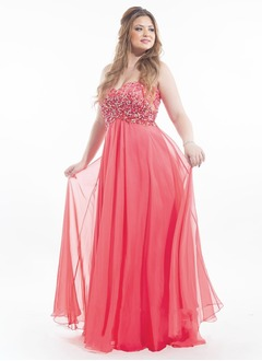 Empire Strapless Sweetheart Sweep Train Chiffon Prom Dress With Beading Sequins