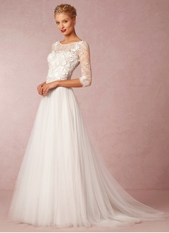 A-Line/Princess Scoop Neck Court Train Tulle Lace Wedding Dress With Appliques Lace (0025057548)