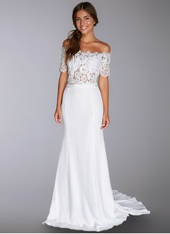 Sheath/Column Off-the-Shoulder Court Train Charmeuse Wedding Dress With Lace