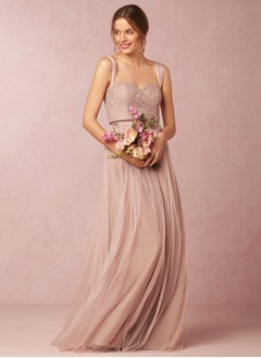 A-Line/Princess Sweetheart Floor-Length Tulle Lace Bridesmaid  ...
