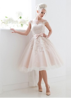 Ball-Gown Scoop Neck Knee-Length Satin Tulle Wedding Dress  ...