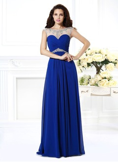 A-Line/Princess Scoop Neck Sweep Train Chiffon Tulle Evening Dress With Beading