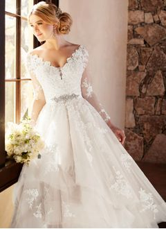 Ball-Gown V-neck Sweep Train Tulle Lace Wedding Dress With Beading Appliques Lace