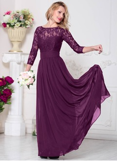 A-Line/Princess Scoop Neck Sweep Train Chiffon Evening Dress With Lace