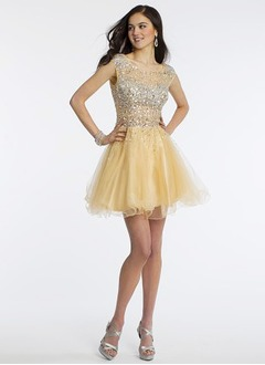 A-Line/Princess Scoop Neck Short/Mini Tulle Homecoming Dress With Beading