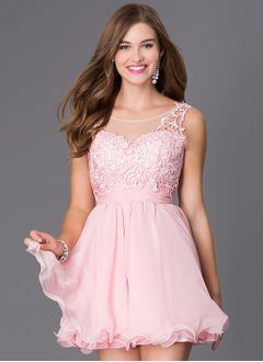 A-Line/Princess Scoop Neck Short/Mini Chiffon Homecoming Dress With Ruffle Appliques Lace