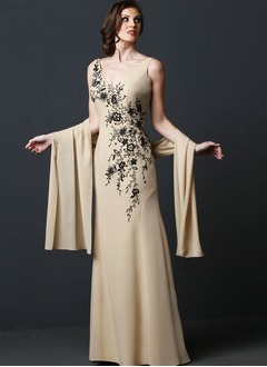 Sheath/Column V-neck Floor-Length Chiffon Mother of the Bride Dress With Embroidered Beading