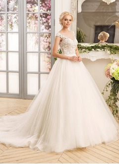 Ball-Gown V-neck Court Train Tulle Lace  ...