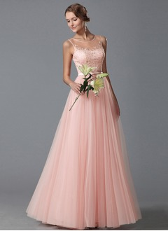 A-Line/Princess Scoop Neck Floor-Length Tulle Prom Dress With Lace Appliques Lace
