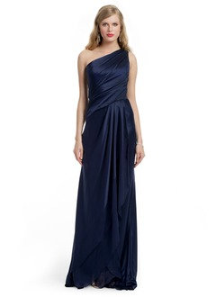 A-Line/Princess One-Shoulder Floor-Length Chiffon Charmeuse Evening Dress With Ruffle