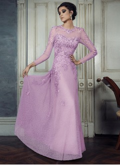 A-Line/Princess Scoop Neck Floor-Length Lace Evening Dress With Lace Appliques Lace