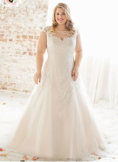 A-Line/Princess Scoop Neck Chapel Train Satin Tulle Wedding Dress With Ruffle Lace Beading