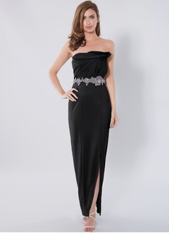 Sheath/Column Strapless Floor-Length Charmeuse Prom Dress With Ruffle Beading