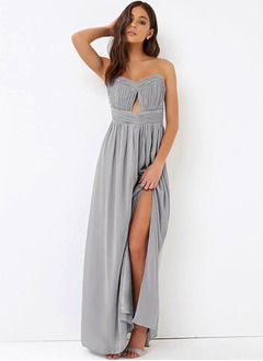 Empire Strapless Sweetheart Floor-Length Chiffon Bridesmaid Dress With Ruffle Split Front