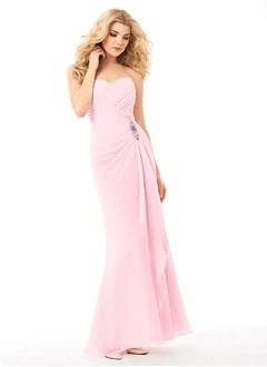 Sheath/Column Strapless Sweetheart Floor-Length Chiffon Bridesmaid Dress With Ruffle Beading