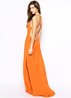 Sheath/Column Scoop Neck Sweep Train Chiffon Evening Dress With Split Front