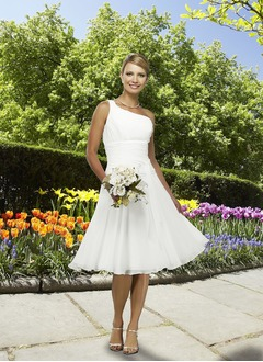 A-Line/Princess One-Shoulder Knee-Length Chiffon Wedding Dress With Ruffle