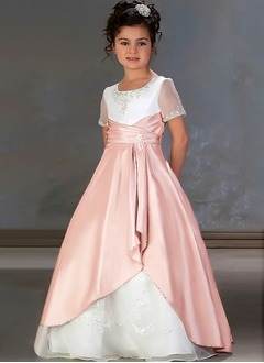 A-Line/Princess Scoop Neck Sweep Train Taffeta Organza Flower Girl Dress With Embroidered Ruffle Sash Beading Sequins Cascading Ruffles