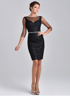 Sheath/Column Scoop Neck Knee-Length Lace Evening Dress With Beading