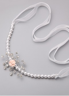 Chiffon 79inch(200cm) With Flower Imitation Pearl Rhinestone Sashes