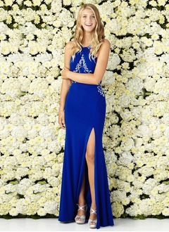 Sheath/Column Scoop Neck Floor-Length Jersey Prom Dress With Ruffle Beading Split Front