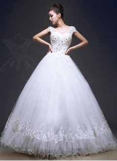 Ball-Gown V-neck Floor-Length Tulle Wedding Dress With Ruffle Lace Beading Appliques Lace