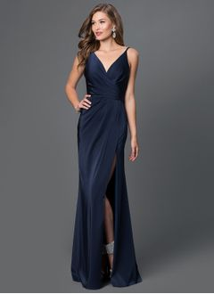 Sheath/Column V-neck Floor-Length Charmeuse Prom Dress With Ruffle Split Front