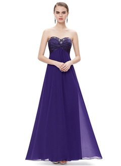 Empire Strapless Sweetheart Floor-Length Chiffon Evening Dress With Ruffle Beading