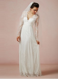 A-Line/Princess V-neck Floor-Length Chiffon Tulle Lace  ...