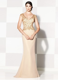 Trumpet/Mermaid V-neck Sweep Train Satin Lace Mother of the Bride Dress With Beading