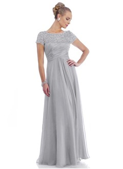 A-Line/Princess Scoop Neck Floor-Length 30D Chiffon Mother of the Bride Dress With Ruffle Lace Beading