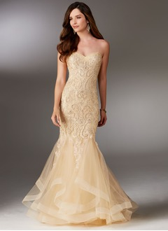 Trumpet/Mermaid Strapless Sweetheart Floor-Length Tulle Lace Evening Dress With Beading