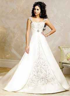Ball-Gown Square Neckline Court Train Satin Wedding Dress With Embroidered Ruffle Beading