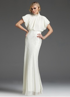 Trumpet/Mermaid High Neck Floor-Length Chiffon Evening Dress With Beading