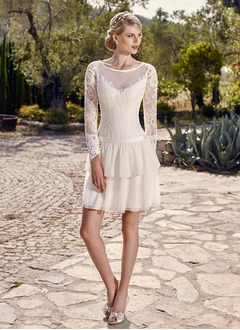 A-Line/Princess Halter Scoop Neck Short/Mini Chiffon Lace Wedding Dress With Ruffle Cascading Ruffles