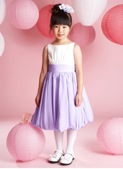 A-Line/Princess Scoop Neck Tea-Length Chiffon Flower Girl Dress With Ruffle