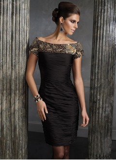 Sheath/Column Off-the-Shoulder Knee-Length Charmeuse Cocktail Dress With Ruffle Beading Sequins