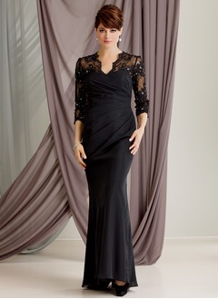 Trumpet/Mermaid V-neck Floor-Length Chiffon Tulle Mother of the Bride Dress With Ruffle Lace Beading