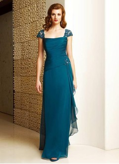 A-Line/Princess Square Neckline Floor-Length Chiffon Tulle Mother of the Bride Dress With Lace Beading Cascading Ruffles