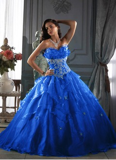 Ball-Gown Strapless Sweetheart Floor-Length Organza Quinceanera Dress With Beading Cascading Ruffles