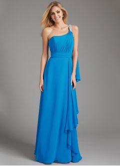 A-Line/Princess One-Shoulder Floor-Length Chiffon Bridesmaid Dress With Beading Cascading Ruffles
