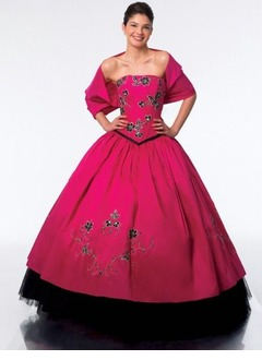 Ball-Gown Strapless Floor-Length Taffeta Tulle Quinceanera Dress With Embroidered Beading Bow(s)