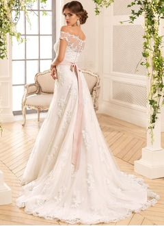 A-Line/Princess Off-the-Shoulder Court Train Charmeuse Lace Wedding Dress With Sash Beading