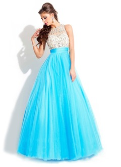 Ball-Gown Scoop Neck Floor-Length Tulle Prom Dress With Beading