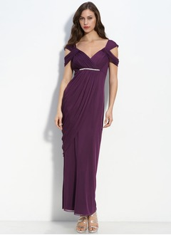 Sheath/Column V-neck Floor-Length Chiffon Charmeuse Homecoming Dress With Ruffle Beading
