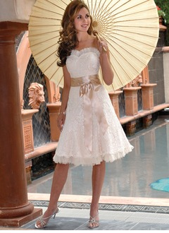 A-Line/Princess Strapless Sweetheart Knee-Length Organza Charmeuse Lace Wedding Dress With Sash Bow(s)