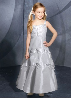 A-Line/Princess Sweetheart Floor-Length Taffeta Flower Girl Dress With Embroidered Ruffle Beading