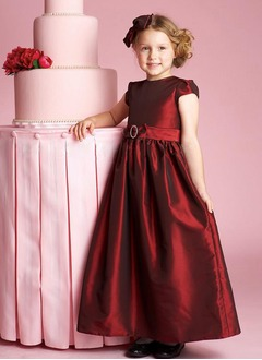 A-Line/Princess Scoop Neck Ankle-Length Taffeta Flower Girl Dress With Beading